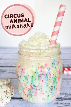 Your kids will go wild for this adorable Circus Animal Milkshake. Rainbow sprinkles give this special treat a bright, colorful appearance that your kids will love. You can even add circus animal cookies to your milkshakes for a surprising twist on a classic kid-friendly dessert.