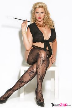 Plus Size Patterned Lace Suspender Stockings $8.95 - Not sure, can't see if they are attached