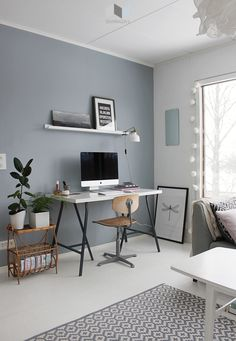 Home Office Storage, Home Office Design, Home Office Decor, Home Interior Design, Home Decor, Office Wall Colors, Rustic Home Offices, Room Design Bedroom, Living Room Grey