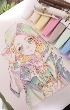 Anime Drawings Sketches, Anime Sketch, Cute Drawings, Image Zelda, Art Mignon, Link Art, Poses References, Arte Sketchbook, Legend Of Zelda Breath
