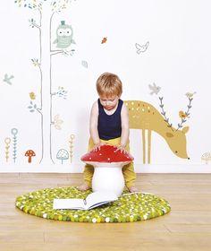 Stickers geant cert décoration chambre d'enfant et bébé forêt Lilipinso