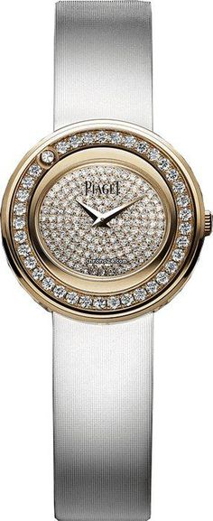 Piaget Possession Diamond Pave 18kt Rose Gold White Satin Mens Watch GOA37189 $16,060 #Piaget #watches #chronograph 18kt rose gold case with a white satin strap