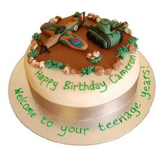 World War II cake with Spitfire and tank - For all your cake decorating supplies, please visit craftcompany.co.uk
