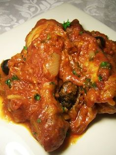Cacciatore (Chicken or Beef) - this recipe looks closest to the way I had chicken cacciatore best - flour fried, bone-in meat, oven cooking - need to try