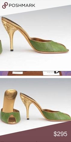 Gucci $1200 Tom Ford Era Gold Stud Python Heels 7 -great preowned condition  -Python has Very slight Pilling on the right shoe and the left shoe has a darker mark—everything reflected in the pictures; still beautiful condition for such delicate intricate shoes -purchased at Neiman Marcus Scottsdale  -will come with 2 Gucci dustbags Bundle up; offers always welcome!!! Gucci Shoes Heels