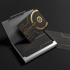 Photography Business Card Design for Photographer Randy Parker (Black and Gold Foil Stamped)
