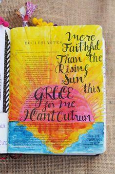 Ecclesiastes 1:5 October 21, 2016 carol@belleauway.com, watercolor brush markers on Treated page using Liquitex matte gel medium, bible art journaling, journaling bible, illustrated faith