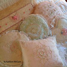 antique lace pillows...