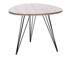 Table gigogne bois de chêne et métal, naturel et noir - L60