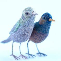Best friends . . . . #softsculpture #fiberart #textileart#fauxtaxidermy #bird #birds#birdstagram #art #embroidery #broderie