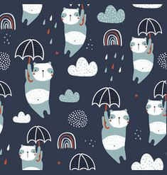 Seamless childish pattern with cute pandas vector Moon Vector, Cloud Vector, Vector Art, Sleeping Panda, Flamingo Vector, Kid Fonts, Heart Hands Drawing, City Vector, Rainbow Print