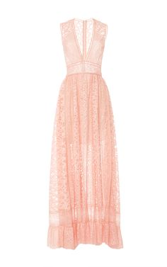 Lace and Ajoure V-Neck Maxi Dress by Elie Saab for Preorder on Moda Operandi