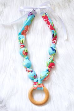 Fabric Teething Necklace in Spring by HunterLaneBoutique on Etsy