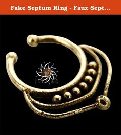 Fake Septum Ring - Faux Septum Ring - Fake Septum Piercing - Clip On Piercing - Clip On Septum - Septum Jewelry - Septum Cuff - Nose Jewelry. Beautiful fake septum made of brass. Inner ring: 7mm Length: 12.5mm Width: 12mm Nickel free. ~~~~ How to use the septum Correctly ~~~~ In order of taking care of your new septum, it's important to bend it to the sides (never up) as little as possible when putting it on and off. ~~~~ How to clean the septum? ~~~~ Brass and silver oxidize naturally…