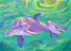 pinteres dolphin art   Mom and Baby Dolphin Art Print -   Art I Like