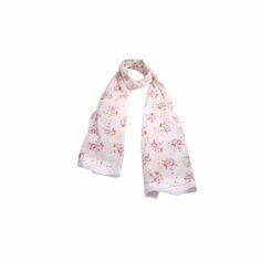 Echarpe Floral Off White de Algodão #echarpes #lenços #lenço #scarf #scarfs