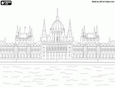 Free The impressive Hungarian Parliament building in Budapest on the shore of the Danube coloring and printable page. Free Coloring, Coloring Pages, Converse Design, World Thinking Day, World's Fair, Budapest Hungary, Arts And Crafts Projects, Eastern Europe, Line Art