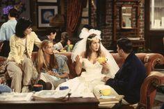 Monica Geller (Courteney Cox), Phoebe Buffay (Lisa Kudrow), Rachel Green (Jennifer Aniston), Ross Geller (David Schwimmer) ~ Friends Episode Stills ~ Season 1, Episode 1 ~ The One Where Monica Gets a Roommate