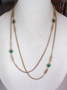 Vintage Faceted Green Stone And Filigree Chain Necklace #Chain