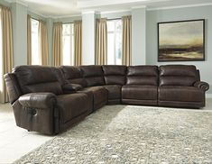 Luttrell 6Pc Power Reclining Sectional with Console by Signature Design by Ashley