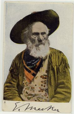 Ezra Meeker, 1907 Postcard, Advocate of The Oregon Trail. Ezra Manning Meeker was an American pioneer who traveled the Oregon Trail by ox-drawn wagon as a young man, migrating from Iowa to the Pacific Coast. Late in life he worked to memorialize the Trail, repeatedly retracing the trip of his youth.