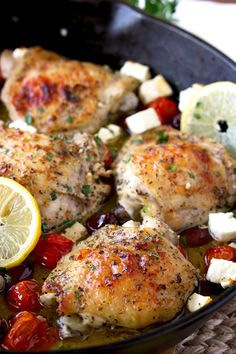 Greek Lemon Oven Roasted Chicken Thighs in a cast iron skillet with roasted tomatoes, Kalamata olives and Feta cheese Greek Chicken Thigh Recipe, Easy Lemon Chicken Recipe, Greek Lemon Chicken, Chicken Skillet Recipes, Greek Roasted Chicken, Chicken Thigh Recipes Oven, Chicken Meals, Teriyaki Chicken, Kitchen