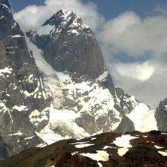 North peak of Ushba and the route of the first successful climb by Cokkin and Almer). Most Beautiful, Beautiful Places, Bergen, Climbing, Mount Everest, Nature Photography, Hiking, Mountains, Travel