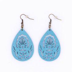 Baby Blue Wood Peacock Filigree Earrings Teardrop by MoonRoseDesign
