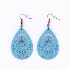 $10.99 Baby Blue Wood Peacock Filigree Earrings Teardrop by MoonRoseDesign