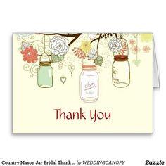 Country Mason Jar Bridal Thank You Greeting Cards
