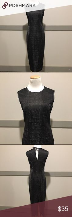 Vintage Santa Fe Maxi Formal Dress Perfect condition black Formal Maxi dress with shimmering silver pin stripes. Tied back. Size 6. Very lightweight. 50 inches long, 32 inch bust, 29 inch waist. Dresses Maxi