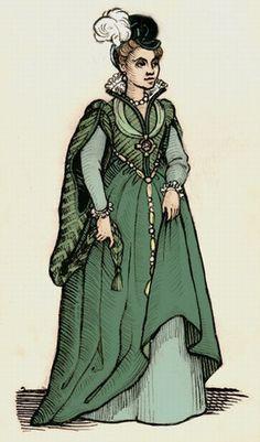 Green Renaissance Dress Drawing