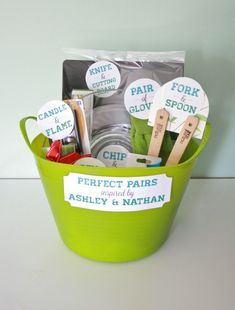 """Perfect Pairs"": A bridal shower gift basket (with free printable!) 