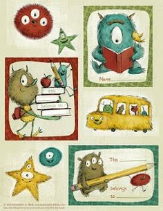 Adorable FREE printable Labels for books, lunch bags, folders etc.