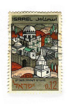 Israeli  stamp of Jerusalem in Hebrew Arabic and English ca. 1968 designed by D. Ben-Dov