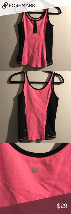 Lululemon Running Yoga pink and Black Tank Lululemon Running Yoga pink and Black Tank. Size 6 lululemon athletica Tops Tank Tops