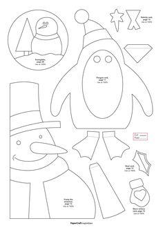free templates: snowman, penguin