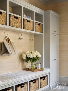 This gorgeous boot room from Atlanta Homes shows how good cabinetry can transform a room. Mudroom Laundry Room, Laundry Room Design, Bench Mudroom, Mudroom Cabinets, Mudroom Storage Ideas, Mudroom Cubbies, Mud Room Garage, Entryway Shoe Storage, Gray Cabinets
