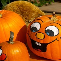Paint Cute Pumpkin Faces on Pumpkins                                                                                                                                                                                 More