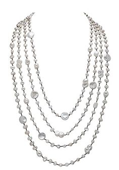 Sterling Silver 18in W// Rhodium-plated 7-8mm Coffee Freshwater Cultured Rice Pearl Necklace