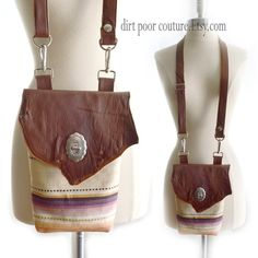 Leather  Saltillo Blanket  Crossbody  Boho  Hip by DirtPoorCouture