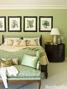 I love all these green rooms! Botanical prints over bed, tacked on burlap, white wood frames, yes please!