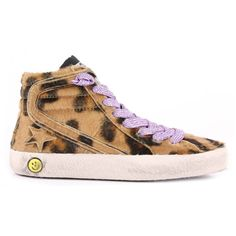 Golden Goose Slide Sneaker ($595) ❤ liked on Polyvore featuring shoes, sneakers, accessories, home, women's, zipper sneakers, purple leopard shoes, purple sneakers, synthetic shoes and leopard sneakers
