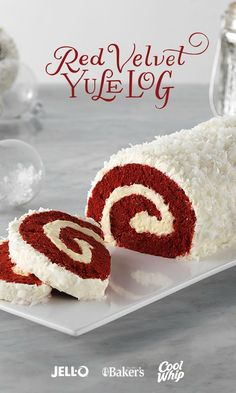 Delightful presentation meets the always-popular red velvet yumminess in this fun holiday centerpiece. Red Velvet Yule Log is a showstopper. Get started with JELL-O Cheesecake Flavor Instant Pudding, COOL WHIP Whipped Topping, BAKER'S ANGEL FLAKE Coconut, Köstliche Desserts, Holiday Baking, Christmas Desserts, Christmas Treats, Christmas Baking, Holiday Treats, Holiday Recipes, Christmas Recipes, Thanksgiving Desserts