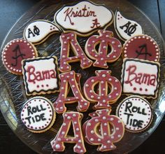 Greek letter cookies and obviously my favorite school and place I was born! Such a cute idea!