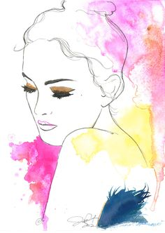 Thoughts of Spring, by Jessica Durrant. #watercolor #painting #jessica #durrant #pink