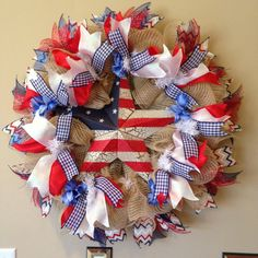 Deco Mesh Patriotic Wreath  4th of July Wreath by BayWreathDesigns