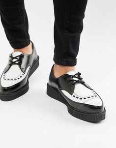 check out 0b7a8 bce0d T.U.K pointed creepers in black leather with white vamp