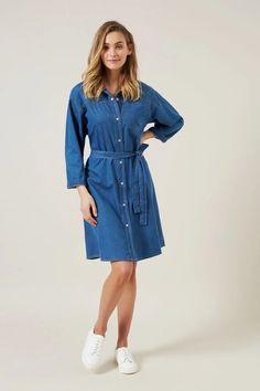 DENIM MINI DRESS MID BLUE