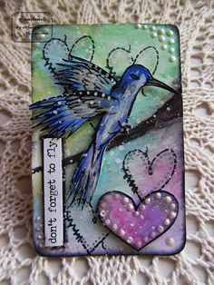 Here is mine altered card H - Heart and Hummingbird week 8 #52CafeCards CHALLENGE #altered #playcard #hummingbird #hearts #handdrawing #watercolour #liquidpearls #timholtz #sentimentsticker #archivalink #rangerink #foamtape